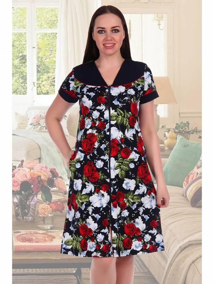 Женский трикотажный халат с однотонной кокеткой и цветочным принтом