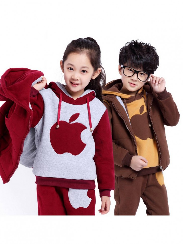 Утепленный подростковый костюм тройка Apple