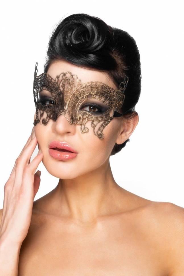 Золотистая карнавальная маска «Альджеба»