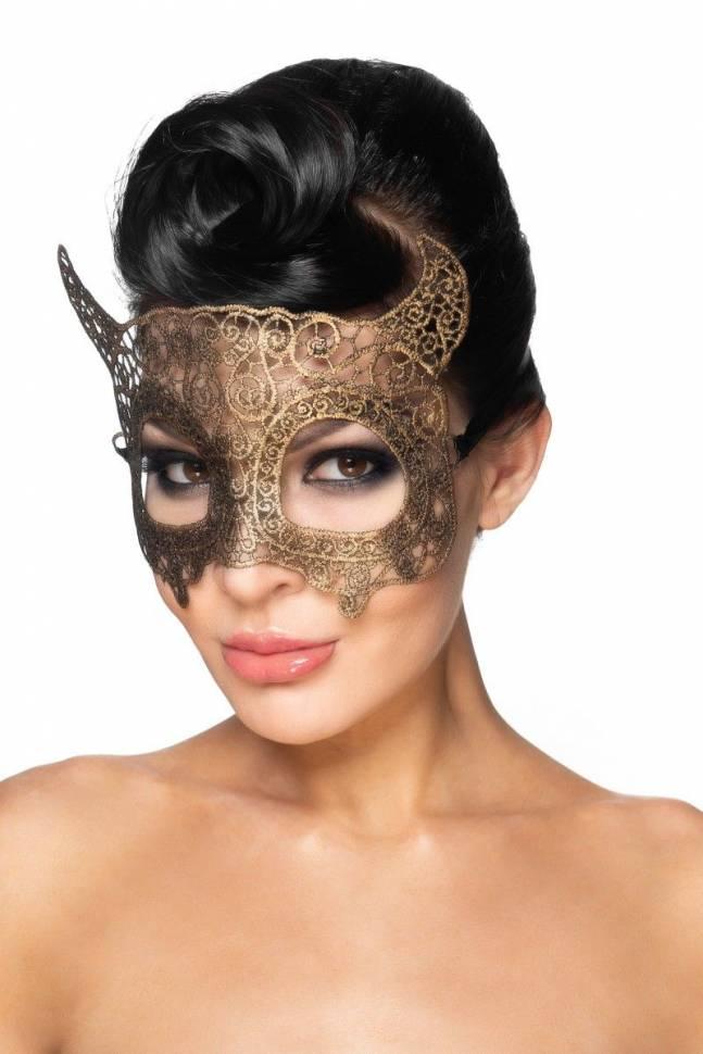 Золотистая карнавальная маска «Альнаир»