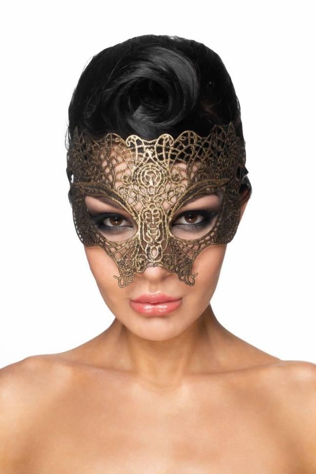 Золотистая карнавальная маска «Мира»