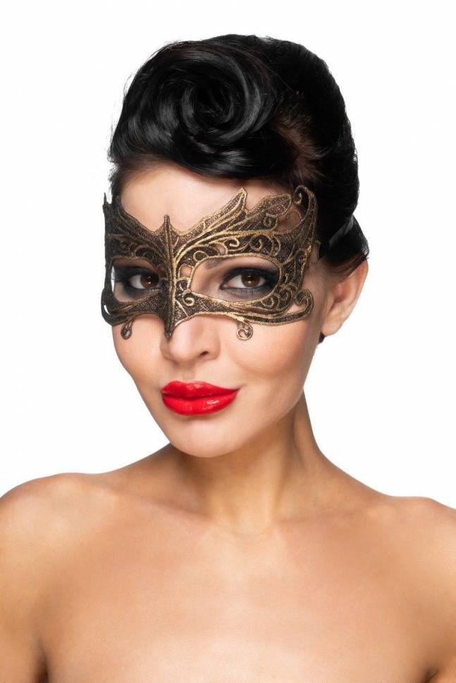 Золотистая карнавальная маска «Наос»