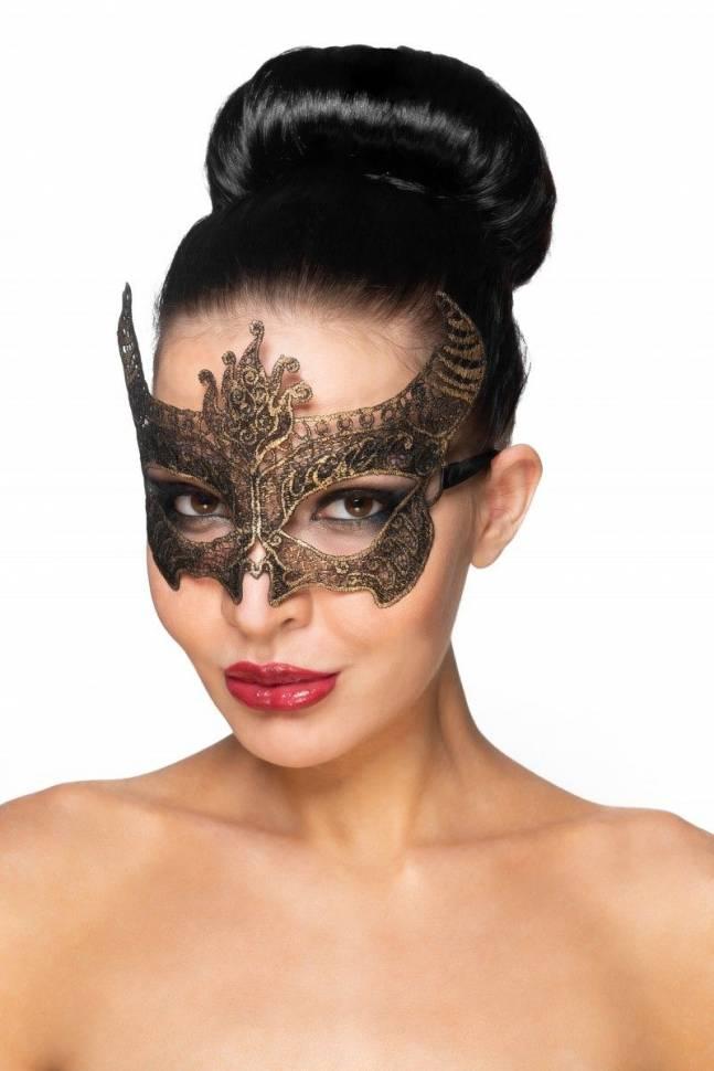 Золотистая карнавальная маска «Нунки»