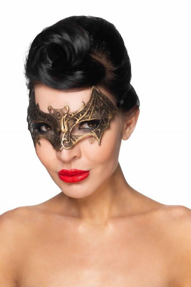 Золотистая карнавальная маска «Сириус»