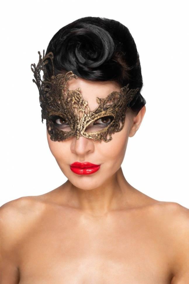 Золотистая карнавальная маска «Хамаль»
