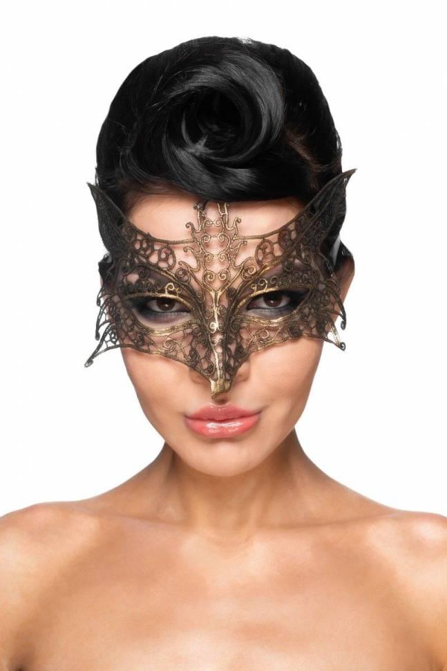 Золотистая карнавальная маска «Шератан»