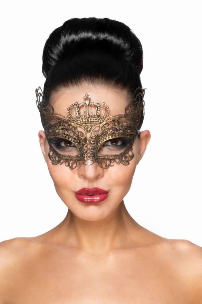 Золотистая карнавальная маска «Эниф»