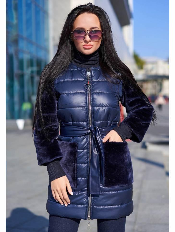 Женский пальто с мехом